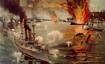 美国亚洲分舰队在马尼拉湾海战击败西班牙