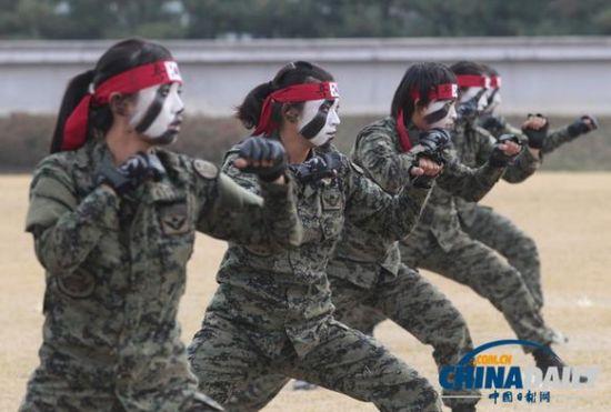 韩国特种部队女兵在训练。(资料图片)