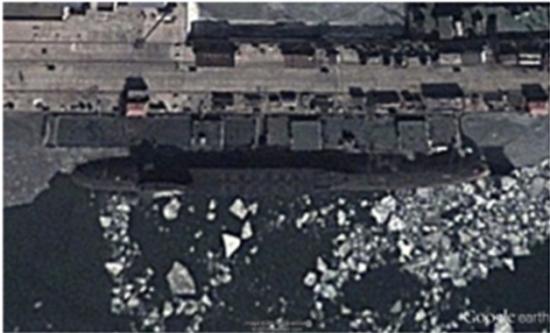 外媒配图:中国战略核潜艇卫星图