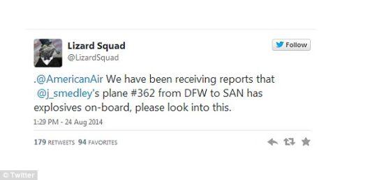 此条炸弹威胁信息被一位名为Lizard Squad的黑客通过Twitter公布出来。