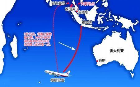 马航MH370最后位置示意图