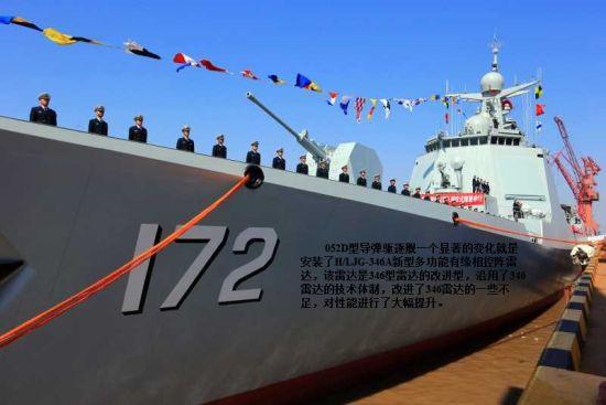资料图:052D导弹驱逐舰装有新型雷达