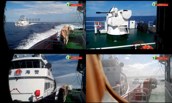 资料图:中国海警船对犯我主权越船冲撞喷水执法