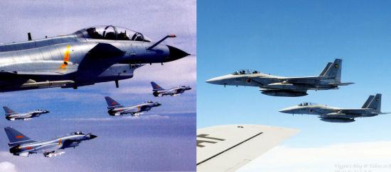 资料图:日媒体假想中国歼-10对阵日本F15战机。