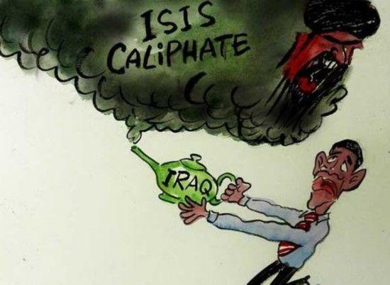 资料图:美国漫画讽刺奥巴马中东政策