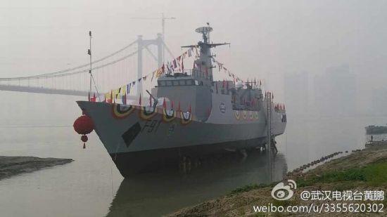 资料图:2014年1月27日,由武船建造的中国最新一代出口型近海巡逻舰---尼日利亚海军P18N项目首舰 NNS F91 舰成功下水。尼日利亚总统夫人出席下水仪式,建成后将成为尼日利亚海军最大最先进的战舰。