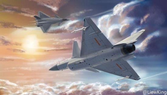近期网络上发布了一组网友离绘制的中国空军战机的精美图片,描绘了一幅空军歼10B战斗机与尚在试飞阶段的歼20战斗机进行近距离格斗的想象图。(作者:LiewKing)