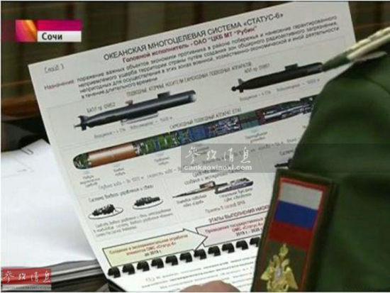 """资料图:俄罗斯电视节目中曝光的""""斯塔图斯-6""""核鱼雷。"""