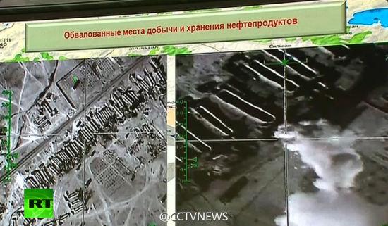 俄罗斯展示了IS运送石油车队在叙利亚与土耳其边境的照片。