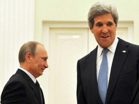 """15日,美国务卿克里与俄罗斯总统普京会谈后,克里表示""""不寻求叙利亚政权更迭"""""""