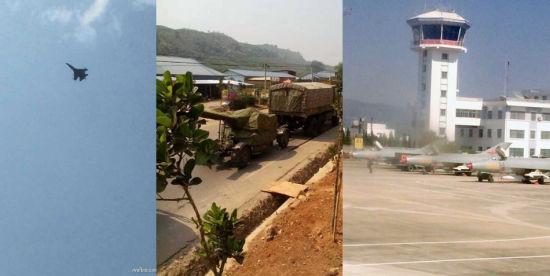 3月12日,发生缅甸空军战机进入我境内投弹造成5死8伤事件后。解放军紧急调集大批高炮部队(主要双联装37毫米高炮)、防空导弹部队(红旗12与红旗6)、还有歼7H战机部队、歼11战机部队进入中缅边境进行部署。其中,歼11战机几乎每天都要上空进行警戒巡逻;歼7H战机机群也加挂霹雳8空空导弹,在临沧机场待命随时升空。
