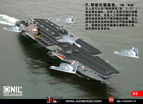 去年,中国自行研制的利剑无人机成功首飞,这种飞翼设计的隐身无人机首飞成功使中国在无人机领域拥有了比肩美欧的实力。利剑和美国海军的X-47B有很多相似之处,所以有很多网友希望未来能够看到基于利剑研制的,中国版的X-47B舰载无人战机。日前,就有网友制作了舰载版利剑无人机的CG图。(鸣谢:军事CG网 作者:NIL)