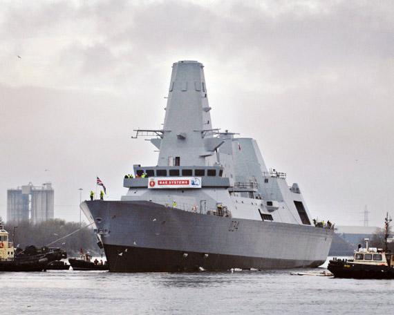 英国海军最新45型驱逐舰第三艘D34钻石号下水