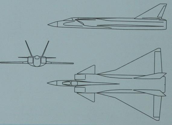 """为了进一步提高飞机性能,达到""""双二六""""的指标,歼9开始演变成为双发双垂尾布局,该方案称为歼9VI-II"""