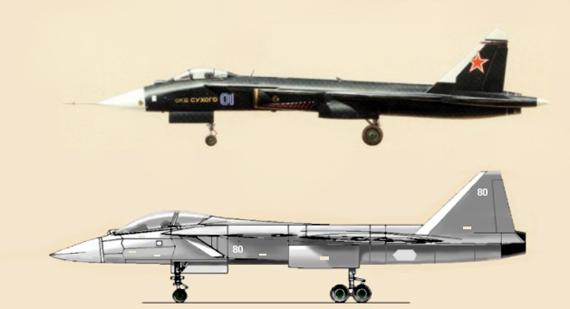 苏霍伊设计局苏-47及五代战机侧视图