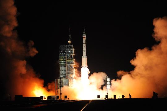 2008 年 9 月 25 日China's Shenzhou VII spacecraft was successfully launched. Xinhua News Agency reporter Li Gangshe