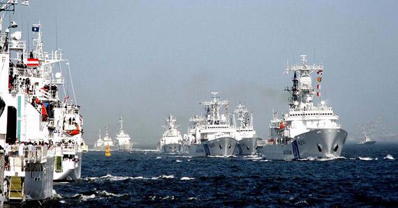 资料图:日本海上保安厅巡逻舰队海上分列式