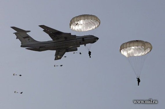 Russian airborne troops being airborne training