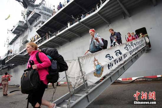 The Thai government sent an aircraft carrier rescue stranded tourists