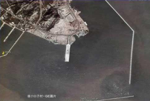 """青岛小口子村地理位置示意图。据报道,2008年开始,青岛小口子地区共迁走6个村,""""建造航母基地""""在当地是家喻户晓的""""秘密""""。"""