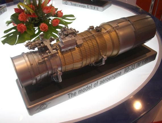 切尔尼雪夫(Chernyshev)机器制造厂展出的RD-33发动机模型。(门广阔摄 新浪独家图片,禁止转载。)