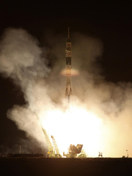 """""""联盟-FC""""型运载火箭正在升空。"""