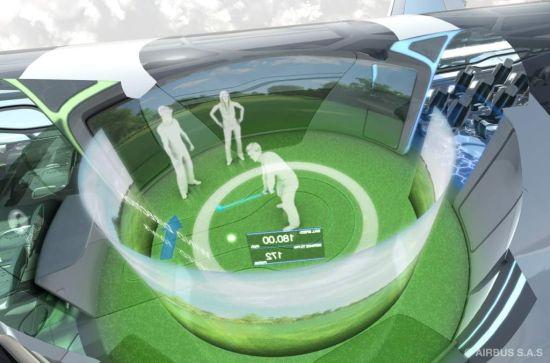 空中客车面向未来的概念客舱仿真高尔夫球场