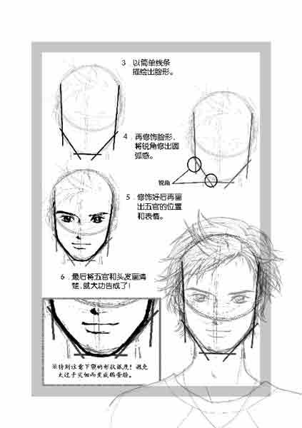 脸形篇2-13:男生圆形脸的画法图片