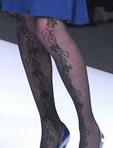 复古印花黑丝袜