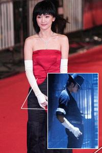 """周迅活用""""MJ式元素"""":长手套不离身"""