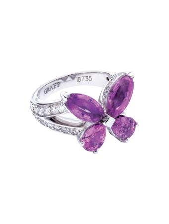 铂金白金白色钻石配粉红宝石蝴蝶戒指