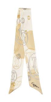 卡地亚双C标志图案领巾
