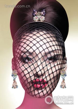 Tiffany & Co. Jean Schlumberger 铂金黄金镶嵌钻石、粉红碧玺、紫水晶蝴蝶胸针/Dior 高级珠宝 黄金镶嵌钻石、红色摩根石耳环