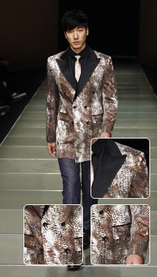 动物纹+双排扣西服西服中注入狂野不羁的气质