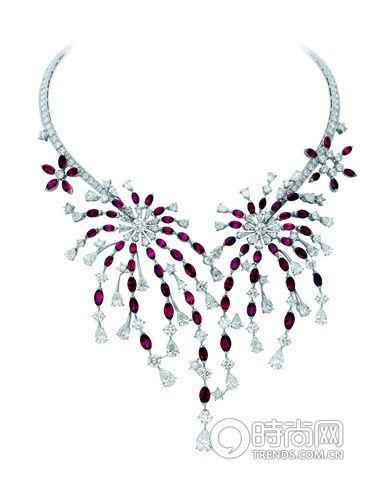 Feu d'Artifice 系列白金镶嵌红宝石项圈