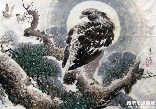 儿童水墨画鹰-同样千昌原的作品《鹰》也是来自博宝宝珍商城的朝鲜国画精品,作者