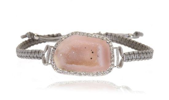 粉色大宝石编织手链