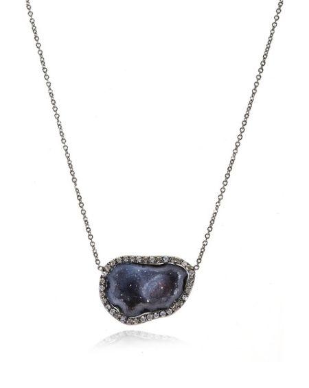 黑色宝石镶钻项链