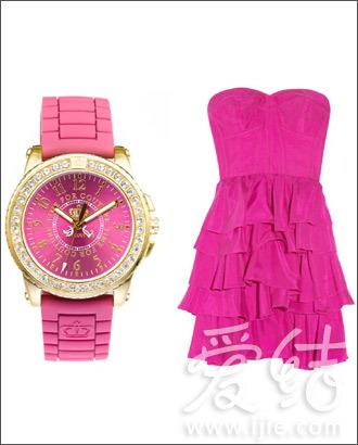 Juicy Couture枚红水晶镶嵌腕表、Rebecca Taylor玫红