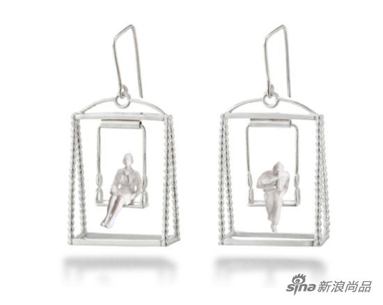 银制长方形耳环