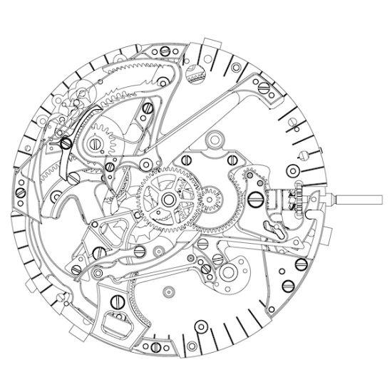 机芯手绘图-腕表课堂 GP芝柏1966系列三问表