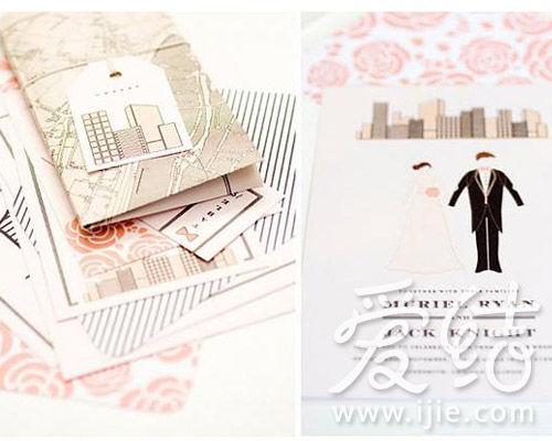 淡粉色水彩玫瑰,在邀请函上绽放铺陈。