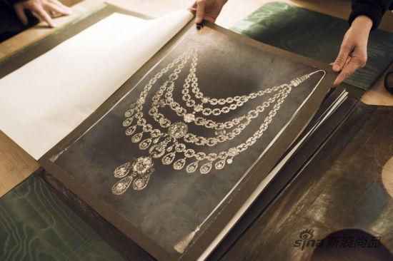 为印度土邦主自藏珠宝重新打造的项链手绘图