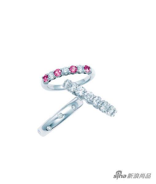TIFFANY CELEBRATION 铂金镶钻及铂金镶钻配粉红色蓝宝石戒指