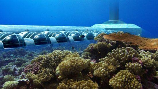 斐济正建的波塞冬水下度假酒店外观图