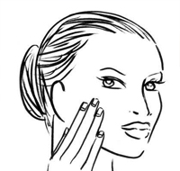 选偏液体状的防晒用手指蘸取涂抹