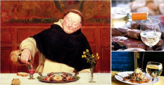 布里奇曼艺术馆收藏的艺术作品,图中僧侣在用葡萄酒搭配大闸蟹。