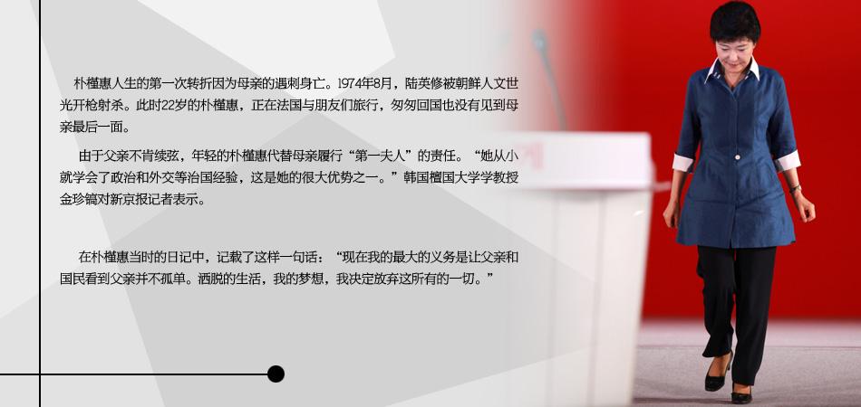 """母亲遇刺身亡 22岁的朴槿惠代行""""第一夫人""""责任"""