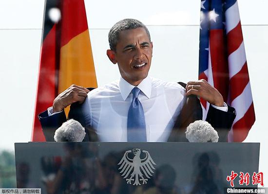 奥巴马柏林演讲脱衣挽袖