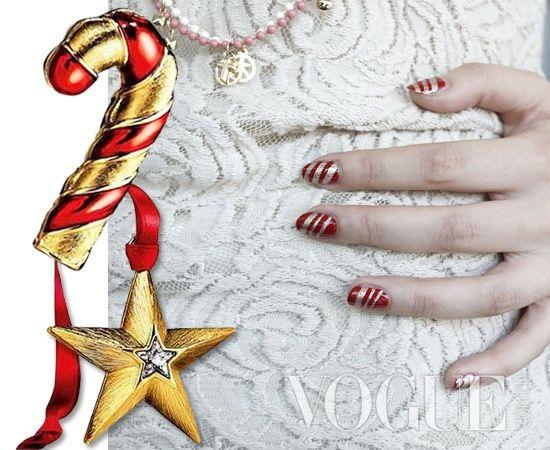 一款简单又漂亮的糖果条纹美甲 在家自己DIY圣诞节美甲